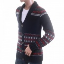 HUGO BOSS ORANGE Navy with Red Grey and White Button up Wool Mix Cardigan Knitwear