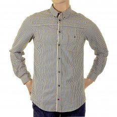 Soft Button down Collar Regular Fit Mens Blue Check Shirt