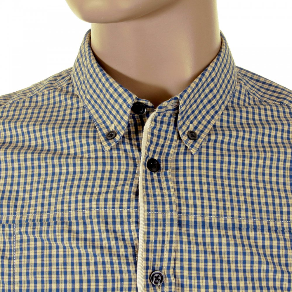 ... HUGO BOSS ORANGE Soft Button down Collar Regular Fit Mens Blue Check  Shirt ...