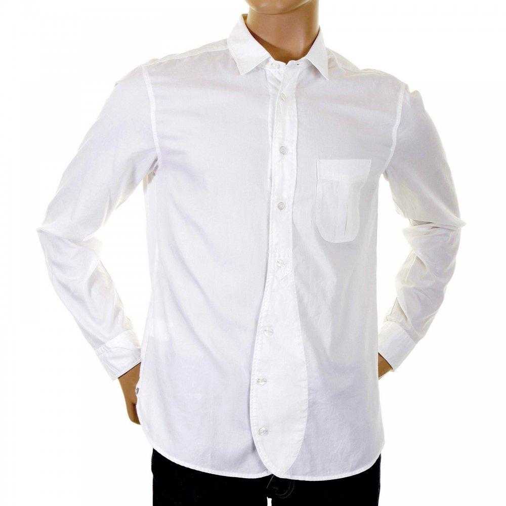 9e987e85 HUGO BOSS ORANGE Washed White Cotton Soft Collar Regular Fit Long Sleeve  Mens Shirt
