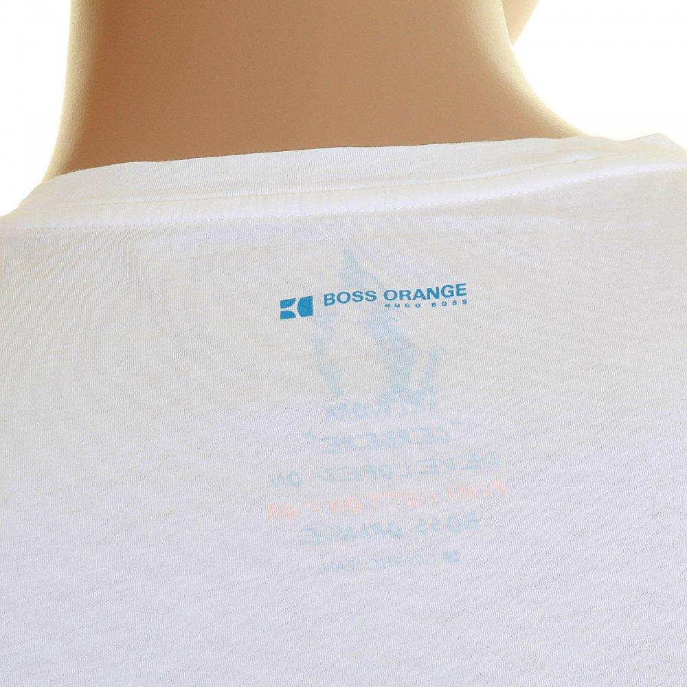 3ab8d5952 ... HUGO BOSS ORANGE White Crew Neck Short Sleeve Regular Fit Cotton T-Shirt  with Cerebre ...
