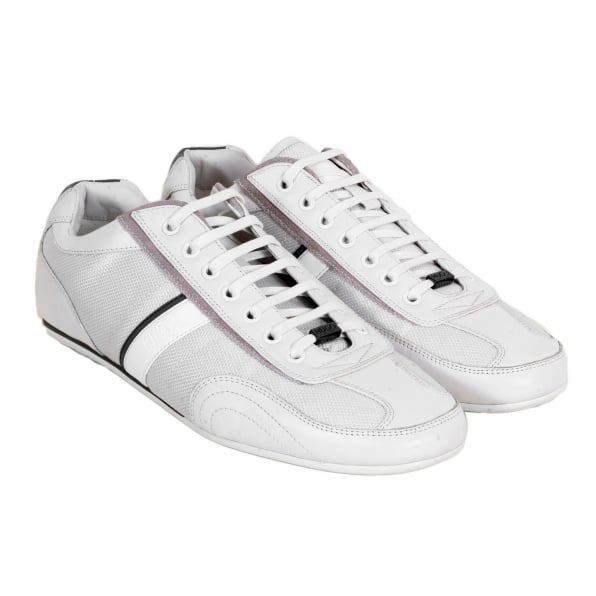 HUGO Mens Thatoz Rounded Toe Low Top Laced Front White Trainers with Rubber Sole