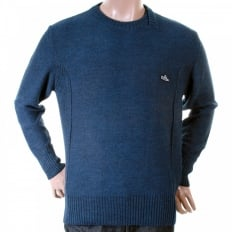 Blue wool mix panel crew neck knitwear