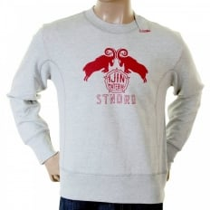 Marl grey standard label crew neck sweatshirt