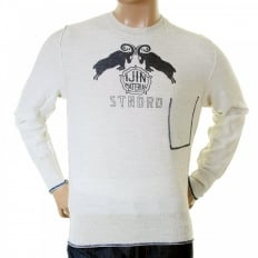 Mens natural standard label crew neck knitwear