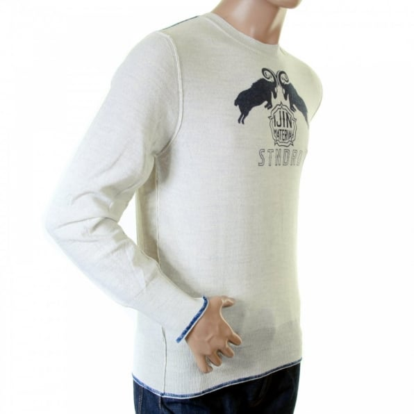 IJIN Mens natural standard label crew neck knitwear