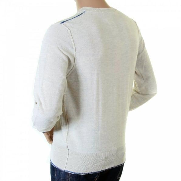 IJIN Mens natural standard label crew neck knitwear