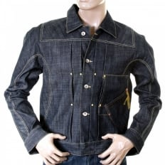 Unwashed raw selvedge denim slimmer fit pleat jacket