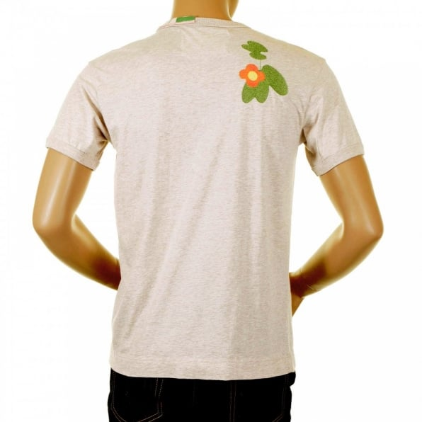 IJIN Washed Cream Crew Neck Short Sleeve Regular Fit Cocktail Front T Shirt