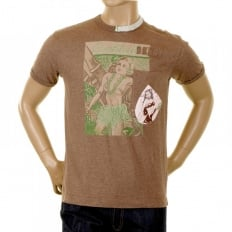 Washed Mocha Crew Neck Short Sleeve Regular Fit Cocktail Front T Shirt
