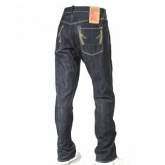 Wrap leg rinsed regular fit denim jeans