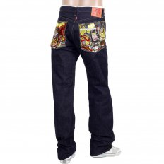 Indigo Japanese Selvedge Denim Jeans with Embroidered Warriors