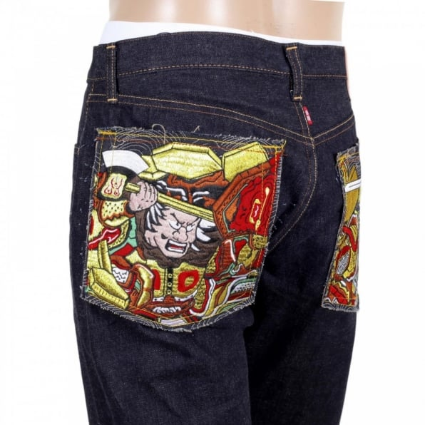 RMC JEANS Indigo Japanese Selvedge Denim Jeans with Embroidered Warriors