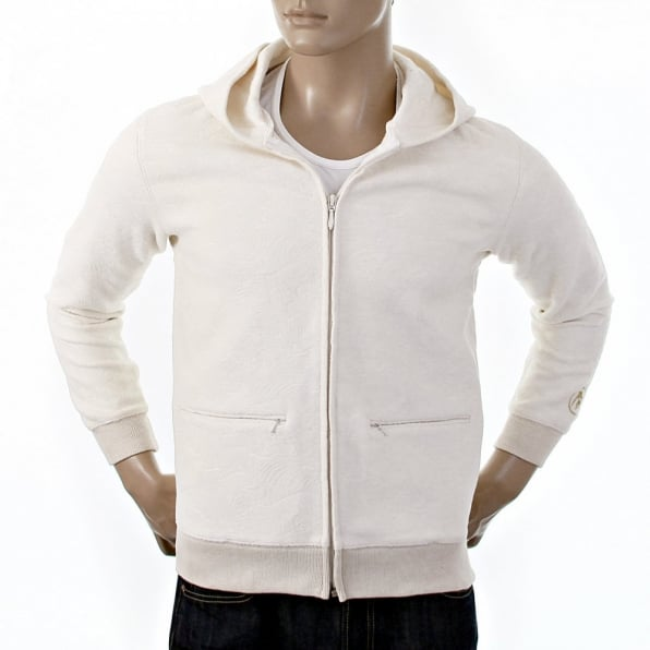 RMC JEANS Ivory Wool Mix Regular Fit Zipped Front Hooded Jacket for Men
