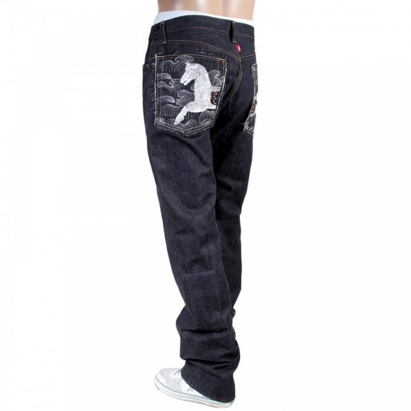RMC JEANS Japanese Indigo Selvedge Raw Denim Jeans for Men with Embroidered Lucky Horse