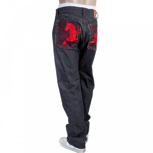 RMC JEANS Japanese Indigo Selvedge Raw Denim Jeans for Men with Red Embroidered Lucky Horse