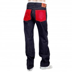 Japanese Selvedge Indigo Raw Denim Mens Jeans with Red Pockets