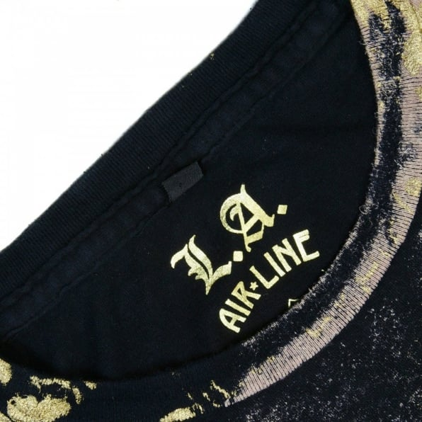 LA AIR LINE Ausdruck black T shirt