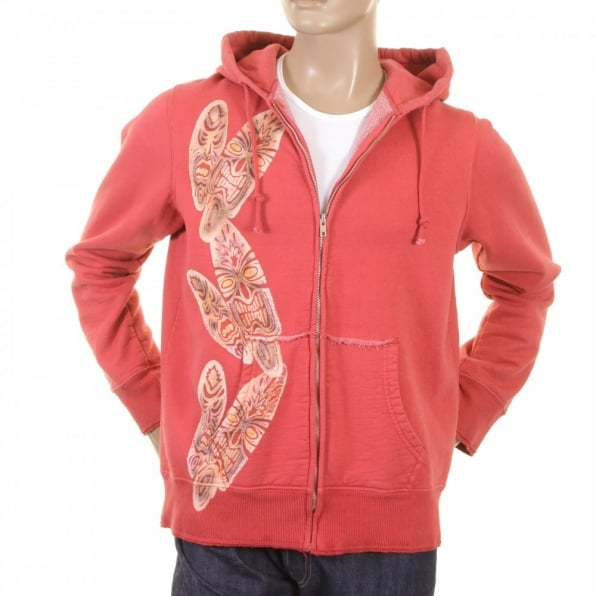 LA AIR LINE Coral Tiki zipped Hooded sweatshirt