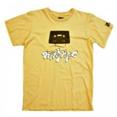 Yellow Short Sleeve T-shirt with Mixtape Print