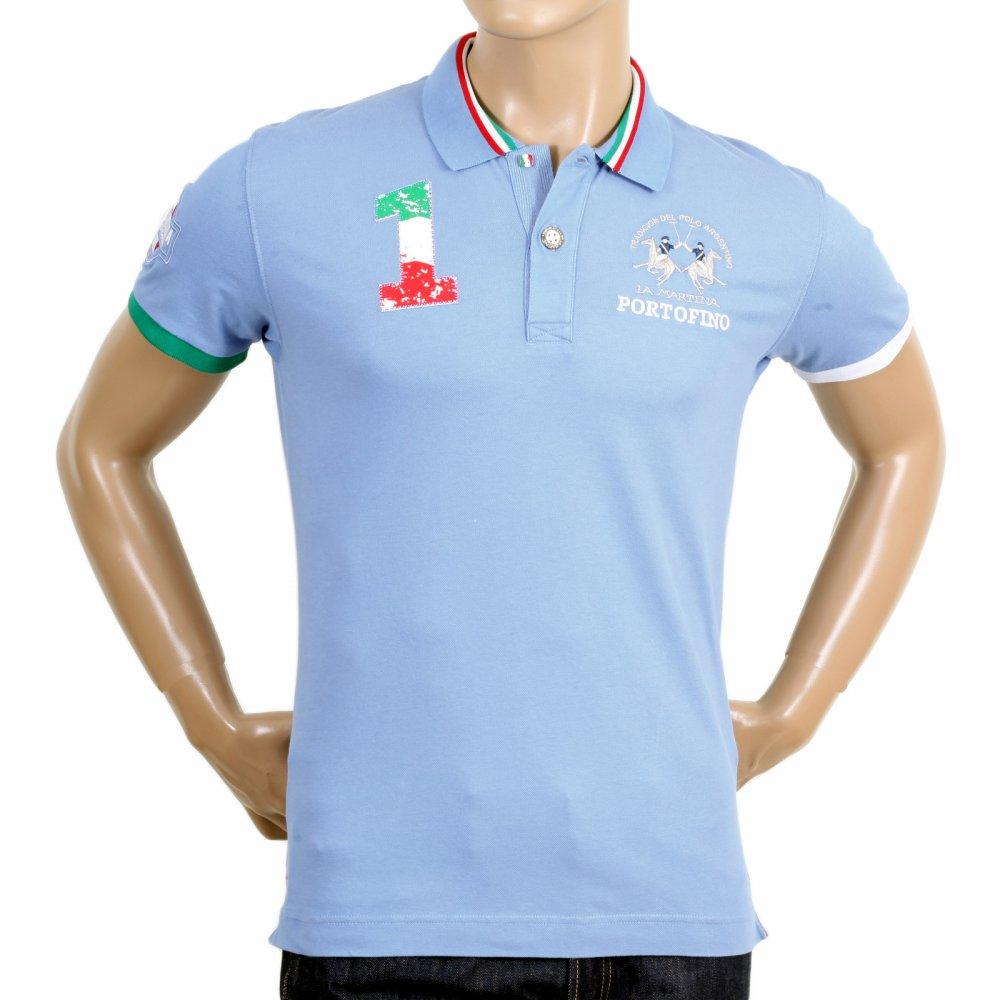 LA MARTINA Mens Cornflower Blue Slim Fit Stretch Cotton Polo Shirt ...