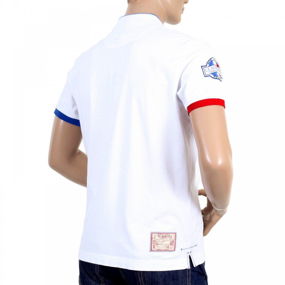3f5698f283 ... LA MARTINA Mens Optic White Slim Fit Short Sleeve Cotton Polo Shirt ...