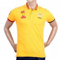 Mens Slim Fit Stretch Cotton Yellow Pique Polo Shirt