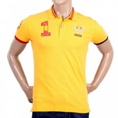 Mens Slim Fit Stretch Cotton Yellow Pique Polo Shirt