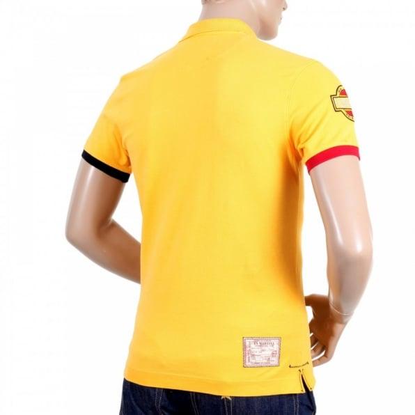 LA MARTINA Mens Slim Fit Stretch Cotton Yellow Pique Polo Shirt