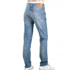 511 Slim Fit Lower Waist Light Blue Iron Harbour Jeans with Fading and Whiskering