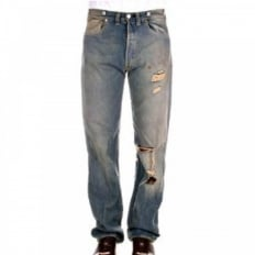 Limited Edition Oil Stained Torn Distressed Vintage mens jeans