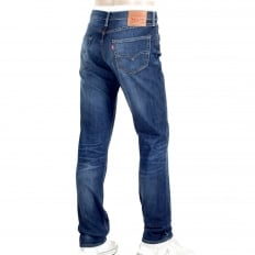 Lower Waist Iron Brutus 511 Slim Fit Jeans in Mid Blue with Fading and Whiskering
