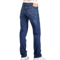 Mens Dark Blue Washed 501 Original Fit Iron State Jeans with Straight Leg Regular Waist