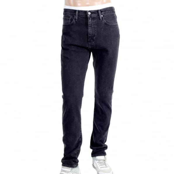 LEVIS Washed Black 510 Stretch Skinny Fit Jeans for Men with Zip Fly and Five Pocket Design