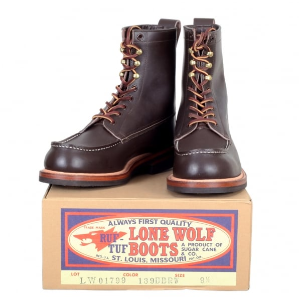 LONE WOLF Brown US Oiled Cowhide Leather LW01799 Wood Cutter Boots with Calf High Shaft for Men