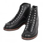 Mens Black Cow Hide Leather Goodyear Welted Lace Up Carpenter Boots with Smooth Matt Finish F01615