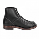LONE WOLF Mens Black Cow Hide Leather Goodyear Welted Lace Up Carpenter Boots with Smooth Matt Finish F01615