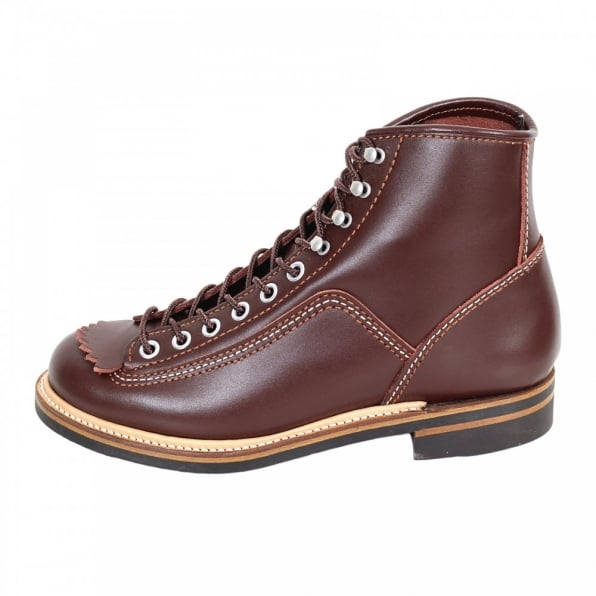 LONE WOLF Mens Brown Cow Hide Leather Goodyear Welted Smooth Matt Finish Lace Up Carpenter Boots F01615