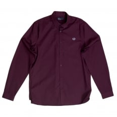 Long Sleeve Mahogany Cotton Shirt with Soft Button Down Collar for Men by Fred Perry