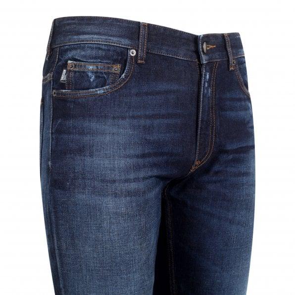 LOVE MOSCHINO Mens Regular Slim Fit Dark Denim Jeans
