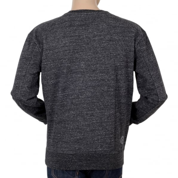 SCOTCH & SODA Marl Grey Anti Fit Crew Neck Long Sleeve Sweatshirt from Scotch & Soda with Flock Printed Front SCOT5595