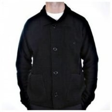 Black, Regular Fit, Button through High Neck, Knitted Cardigan Jacket