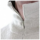 MASSIMO OSTI Ecru Ribbed Zip Neck Half Roll Knitwear Sweater