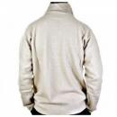 MASSIMO OSTI Ecru Ribbed Zip Neck Half Roll Knitwear Sweater
