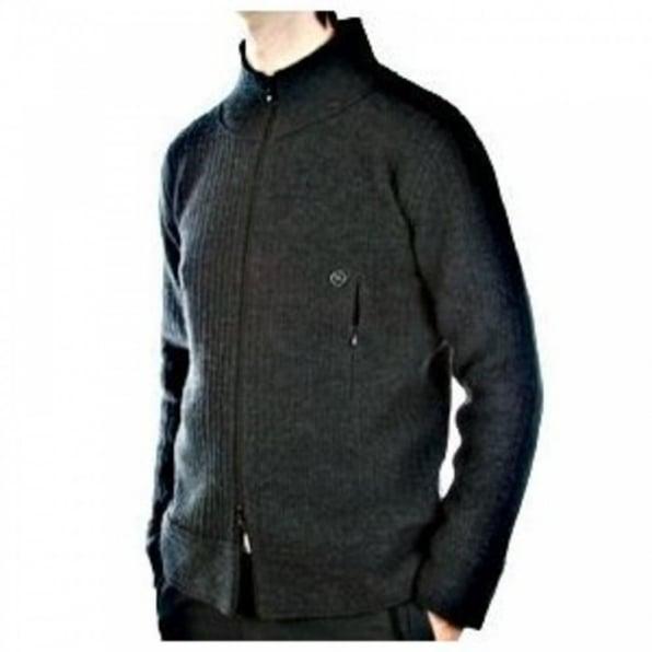 MASSIMO OSTI Melange grey Zip through High neck Long sleeve Knitted jacket
