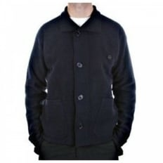 Navy Regular Fit Button through High Neck Knitted Cardigan Jacket