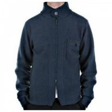 Oil Blue Regular Fit Zip through Long Sleeve Knitted Jacket
