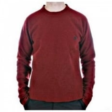 Red Regular Fit Crew Neck Long Sleeve Knitwear