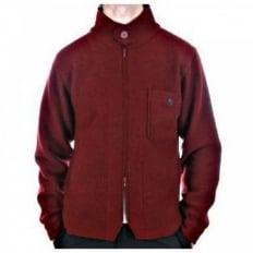 Red Zip through Long Sleeve Knitted Jacket