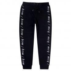 MCQ Black Text Logo Mens Dart Sweat Pant Track Bottoms